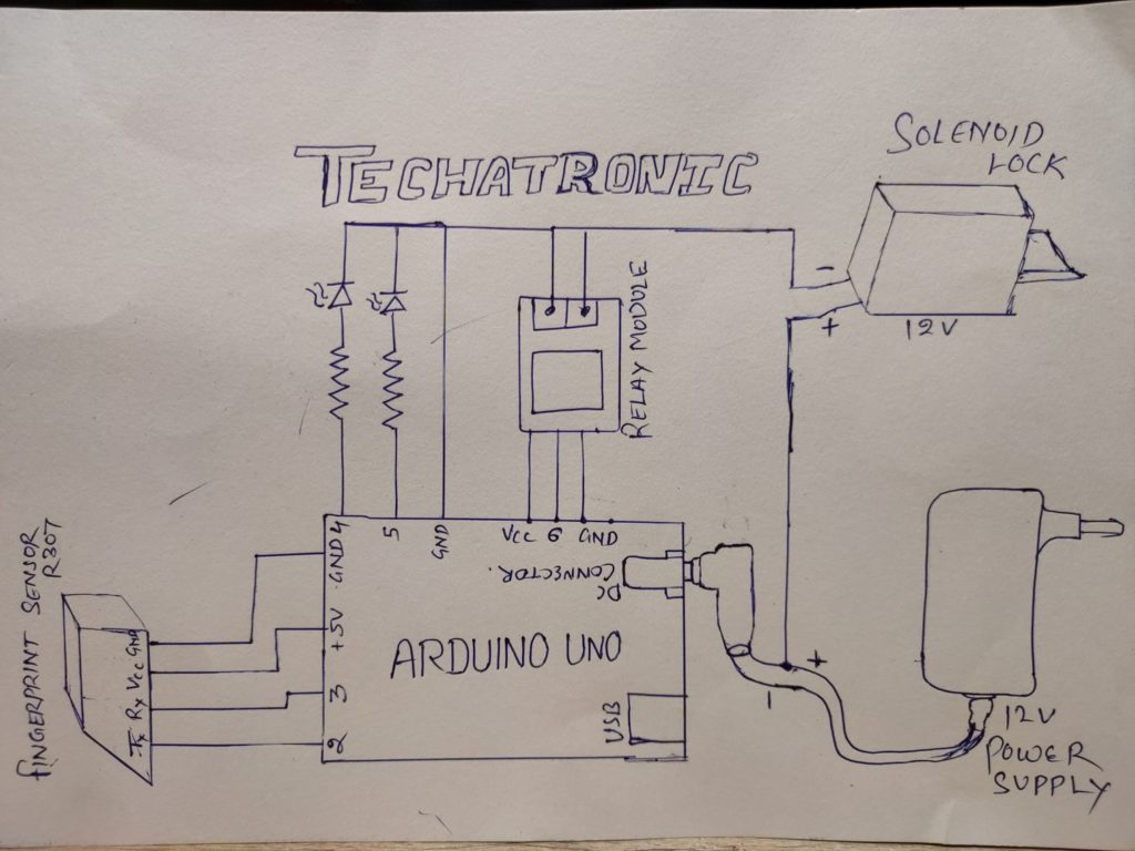 Arduino fingerprint circuit diagram