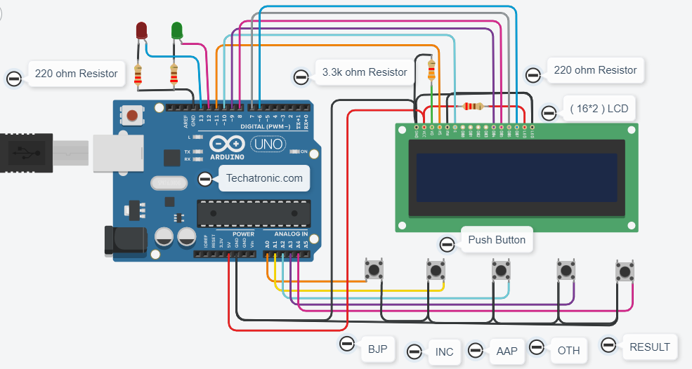 Electronic Voting Machine Circuit Diagram