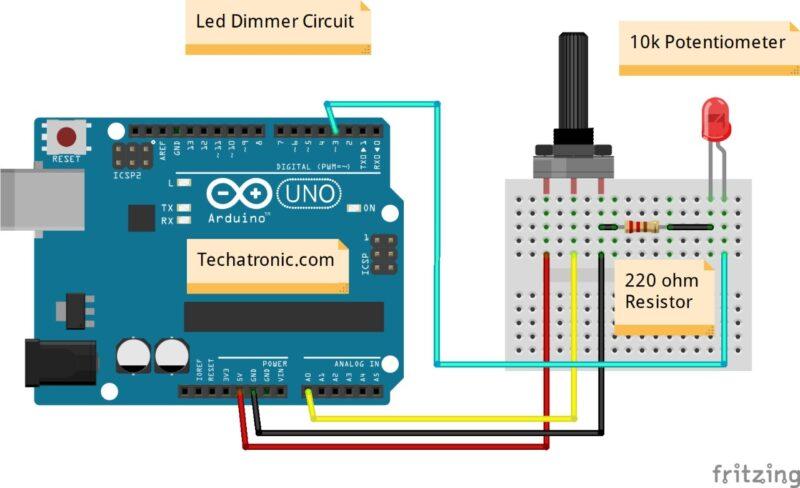 Arduino Potentiometer Wiring / Connection.
