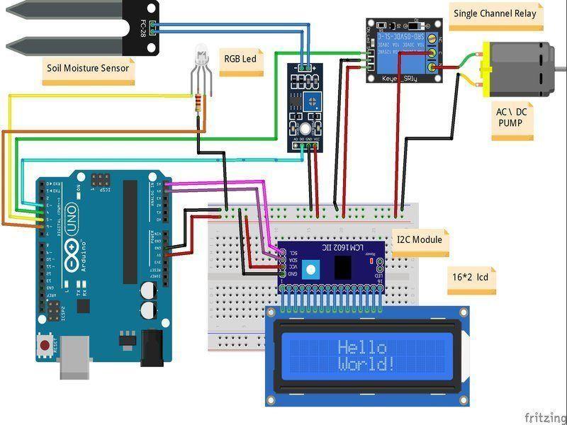 arduino smart irrigation system circuit diagram