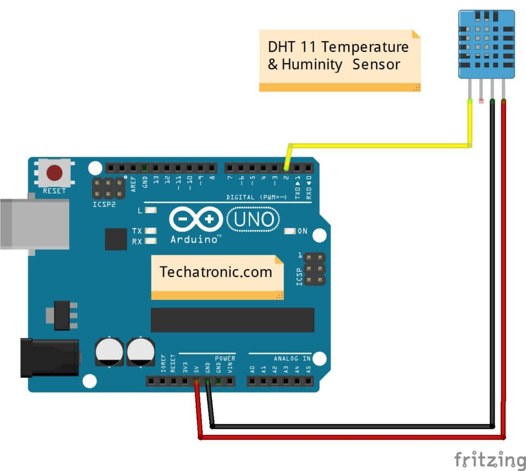 DHT11 with Arduino Circuit