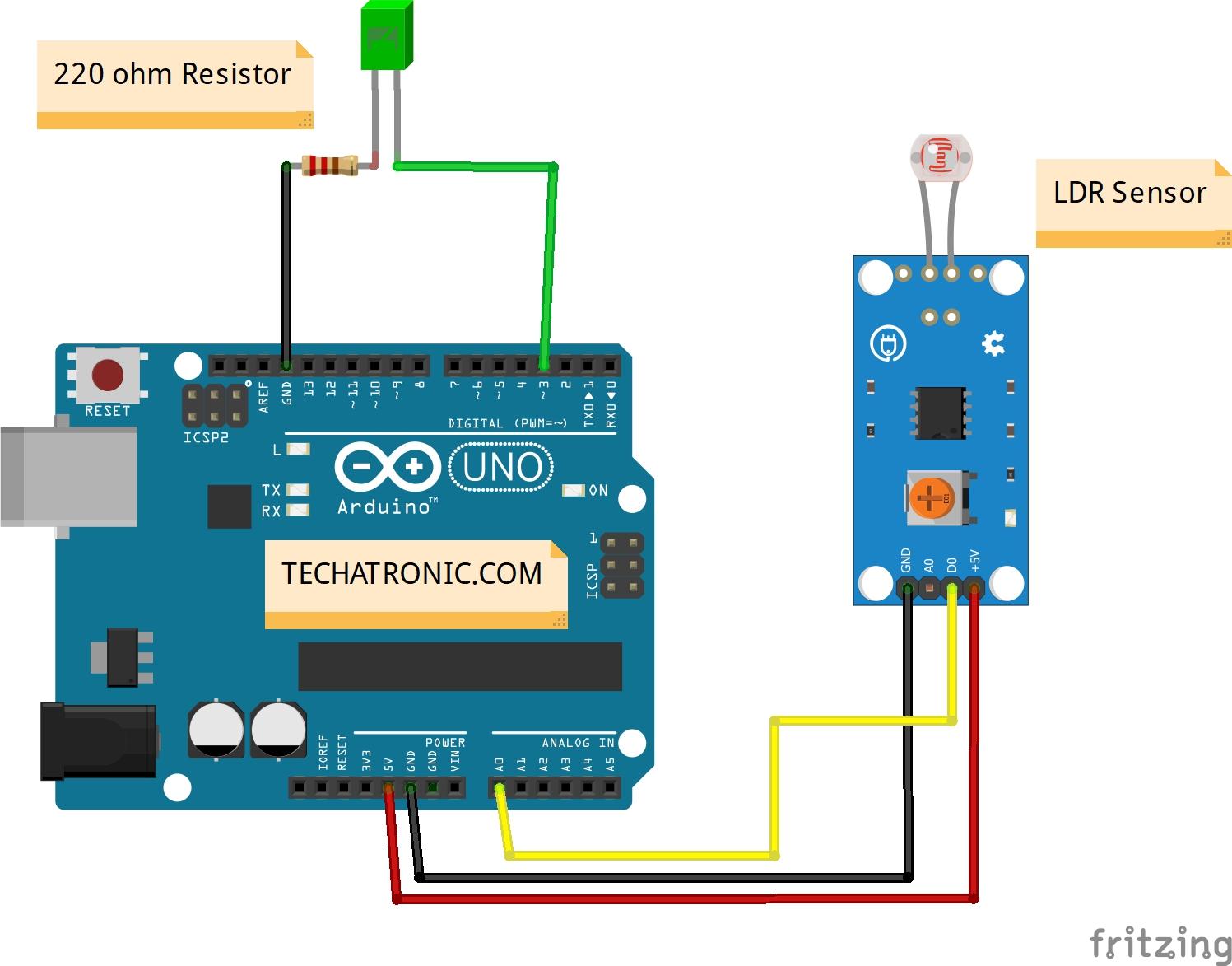 ldr arduino circuit analog