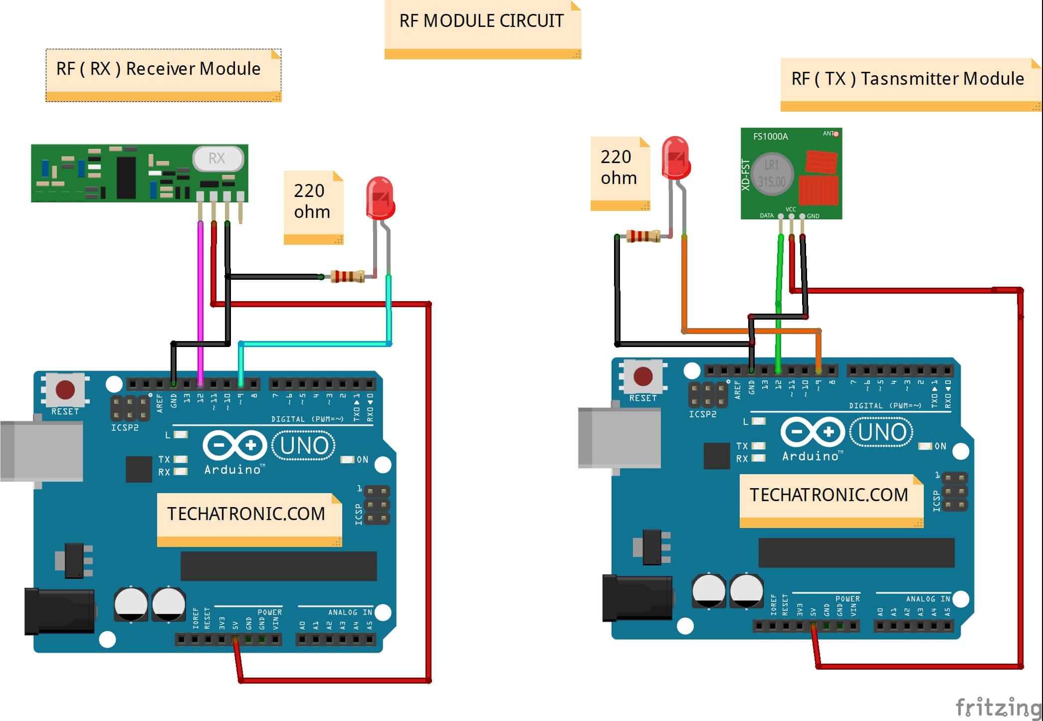 rf module with Arduino circuit diagram