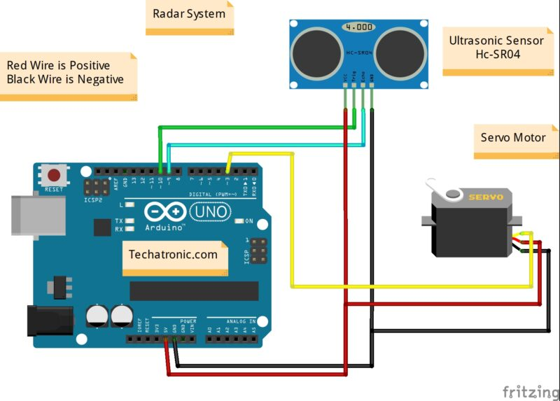 Radar using Arduino circuit