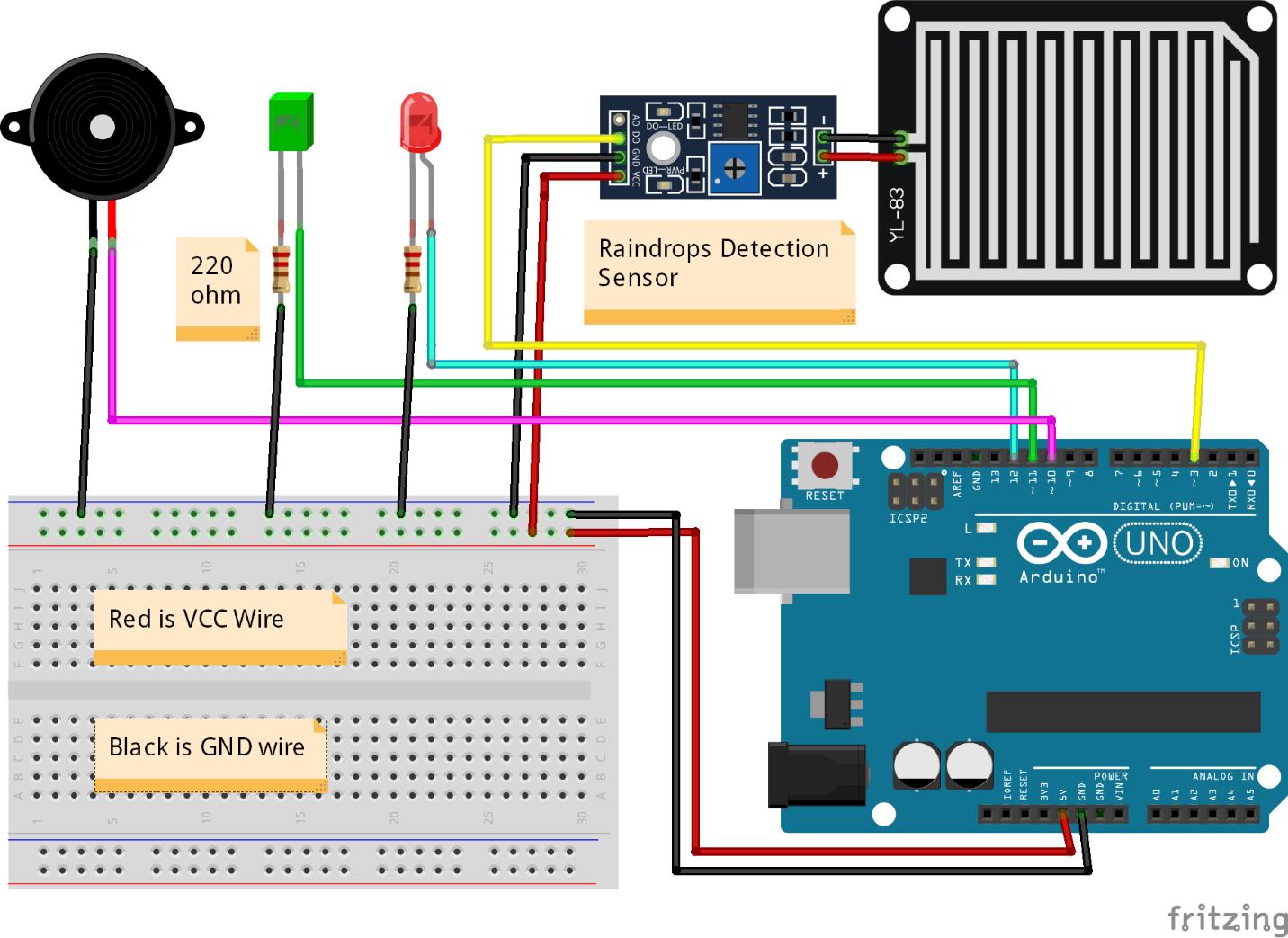 Rain sensor Arduino Mini Project