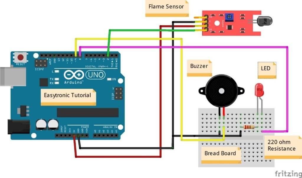 Arduino flame sensor circuit diagram