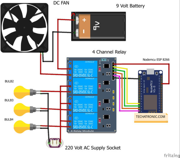 Home Automation using IoT circuit