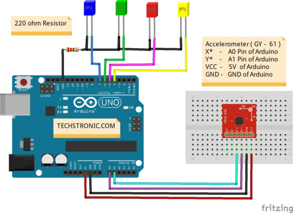 Arduino Accelerometer Project With ADXL335 Circuit Diagram