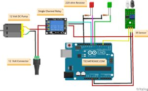 Touchless Automatic Water Tap Using Arduino Circuit Diagram