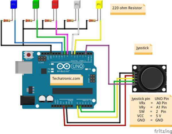 Joystick with Arduino circuit