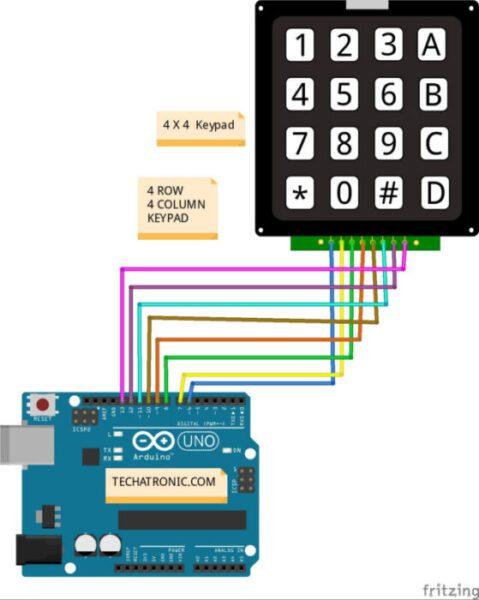 Keypad Interfacing With Arduino Circuit Diagram