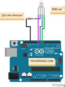 RGB Led Arduino UNO Example circuit Diagram