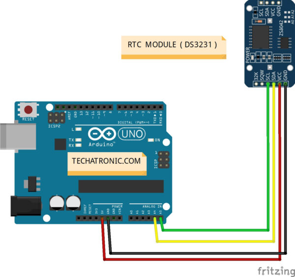 Arduino DS3231 Example Circuit Diagram