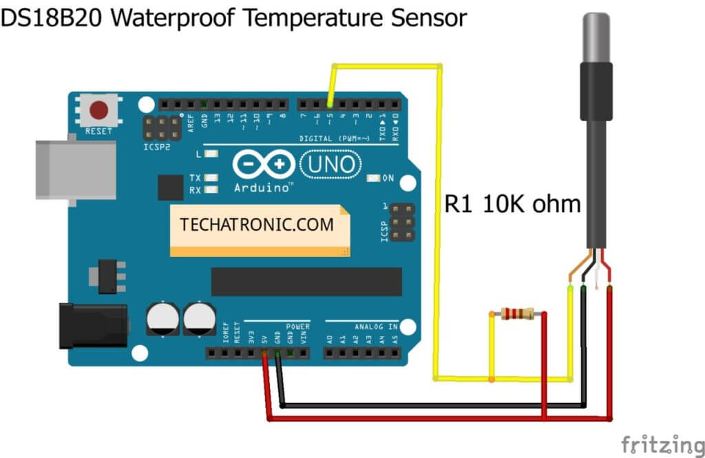 Using Temperature Sensor DS18B20 With Arduino Circuit Diagram