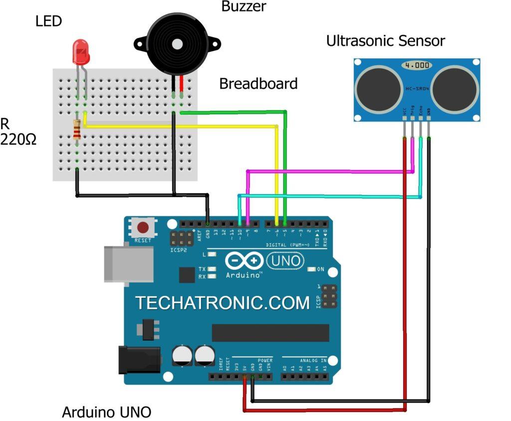smart blind stick circuit diagram