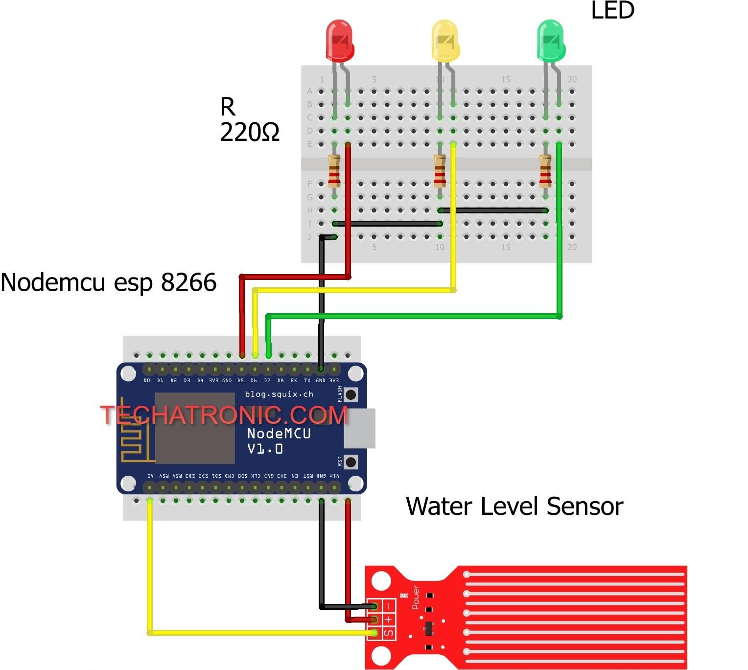 water level indicator using nodemcu